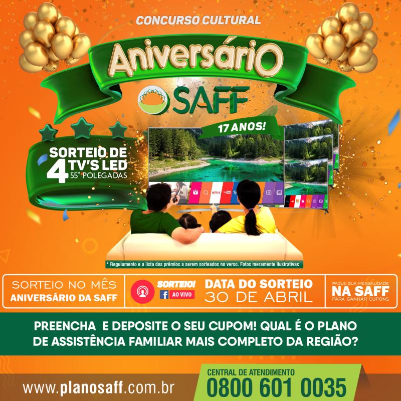 Concurso Cultural Aniversário SAFF 17 Anos!